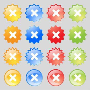 cancel, multiplication icon sign. Big set of 16 colorful modern buttons for your design.