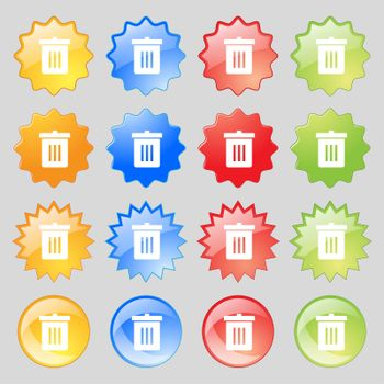Recycle bin, Reuse or reduce icon sign. Big set of 16 colorful modern buttons for your design.