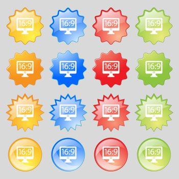 Aspect ratio 16 9 widescreen tv icon sign. Big set of 16 colorful modern buttons for your design.