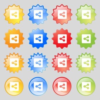 Share icon sign. Set from fourteen multi-colored glass buttons with place for text.