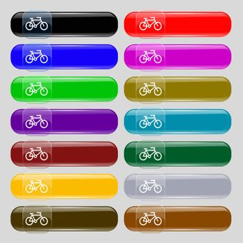 bike icon sign. Set from fourteen multi-colored glass buttons with place for text.