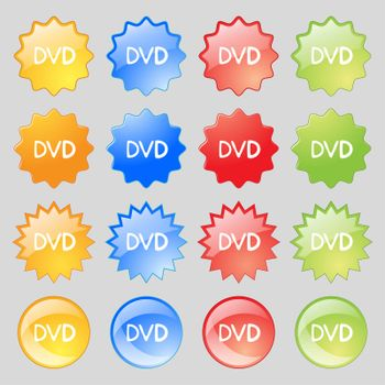 dvd icon sign. Set from fourteen multi-colored glass buttons with place for text.