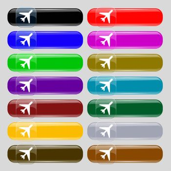 airplane icon sign. Set from fourteen multi-colored glass buttons with place for text.