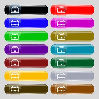 Briefcase icon sign. Set from fourteen multi-colored glass buttons with place for text.