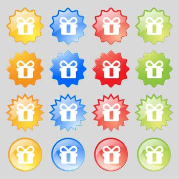 gift icon sign. Set from fourteen multi-colored glass buttons with place for text.