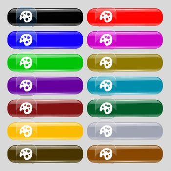 Palette icon sign. Set from fourteen multi-colored glass buttons with place for text.