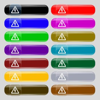 voltage icon sign. Set from fourteen multi-colored glass buttons with place for text.