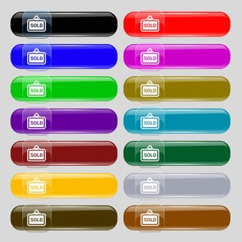 Sold icon sign. Set from fourteen multi-colored glass buttons with place for text.