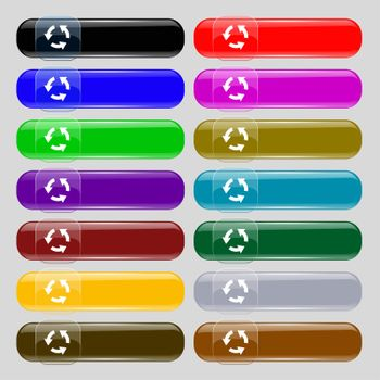Refresh icon sign. Set from fourteen multi-colored glass buttons with place for text.