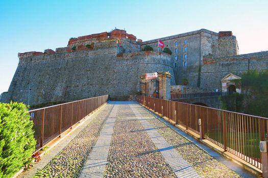 Access to the Priamar fortress in Savona, Liguria, Italy