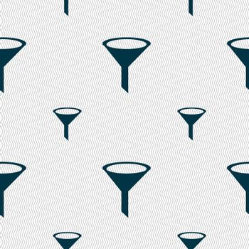 Funnel icon sign. Seamless pattern with geometric texture.