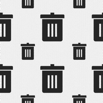Recycle bin, Reuse or reduce icon sign. Seamless pattern with geometric texture.
