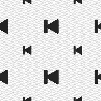 fast backward icon sign. Seamless pattern with geometric texture.