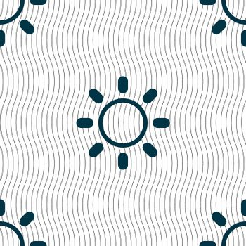 Brightness icon sign. Seamless pattern with geometric texture.