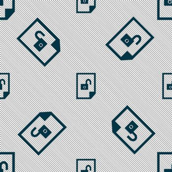 file unlocked icon sign. Seamless pattern with geometric texture.
