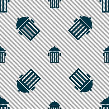 fire hydrant icon sign. Seamless pattern with geometric texture.