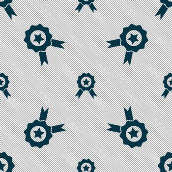 Award, Medal of Honor icon sign. Seamless pattern with geometric texture.