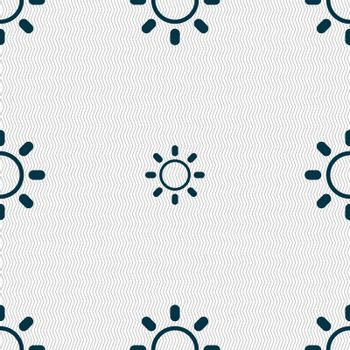 Brightness icon sign. Seamless abstract background with geometric shapes.