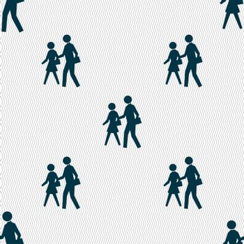 crosswalk icon sign. Seamless pattern with geometric texture.