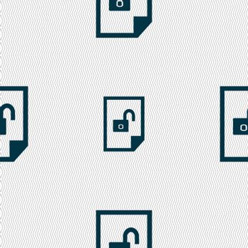 file unlocked icon sign. Seamless abstract background with geometric shapes.