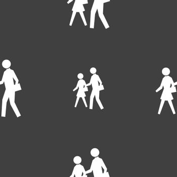 crosswalk icon sign. Seamless pattern on a gray background.