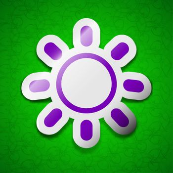 Brightness icon sign. Symbol chic colored sticky label on green background.