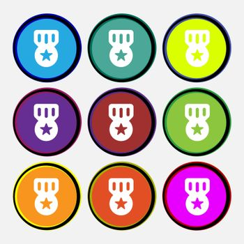 Award, Medal of Honor icon sign. Nine multi-colored round buttons.