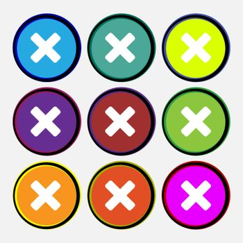 cancel, multiplication icon sign. Nine multi-colored round buttons.