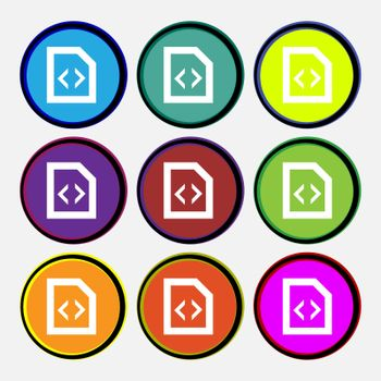 Script icon sign. Nine multi-colored round buttons.