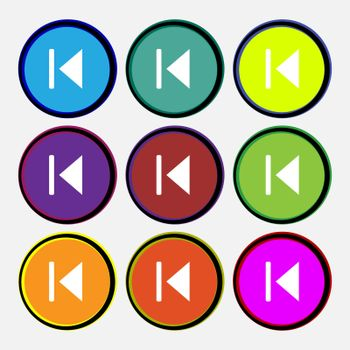 fast backward icon sign. Nine multi-colored round buttons.