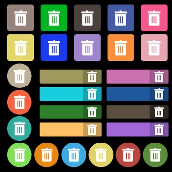 Recycle bin, Reuse or reduce icon sign. Set from twenty seven multicolored flat buttons.