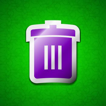 Recycle bin, Reuse or reduce icon sign. Symbol chic colored sticky label on green background.