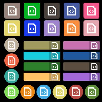 Script icon sign. Set from twenty seven multicolored flat buttons.
