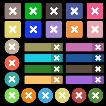 cancel, multiplication icon sign. Set from twenty seven multicolored flat buttons.