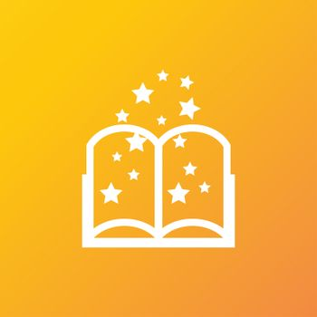 Magic Book icon symbol Flat modern web design with long shadow and space for your text.