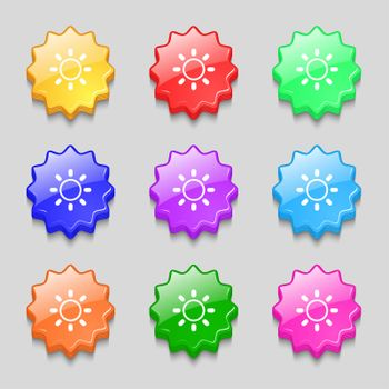 Brightness icon sign. symbol on nine wavy colourful buttons.