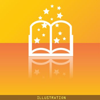 Magic Book icon symbol Flat modern web design with reflection and space for your text. . Raster