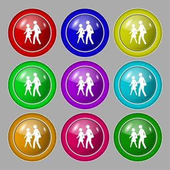 crosswalk icon sign. symbol on nine round colourful buttons.