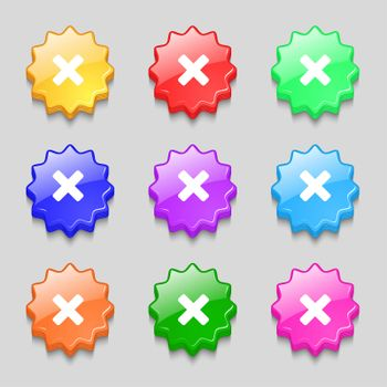 cancel, multiplication icon sign. symbol on nine wavy colourful buttons.