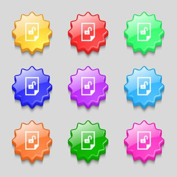 file unlocked icon sign. Symbols on nine wavy colourful buttons.