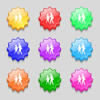 crosswalk icon sign. symbol on nine wavy colourful buttons.