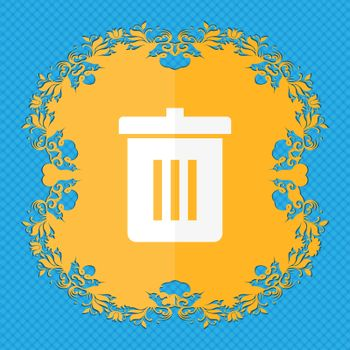 Recycle bin, Reuse or reduce . Floral flat design on a blue abstract background with place for your text.