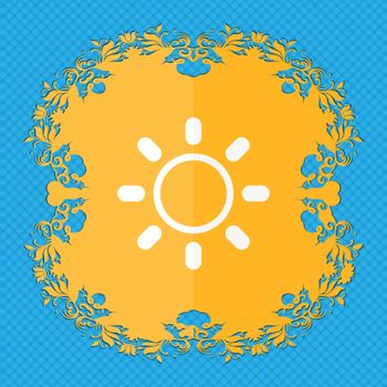 Brightness icon sign. Floral flat design on a blue abstract background with place for your text.