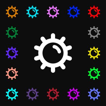 Sun icon sign. Lots of colorful symbols for your design.