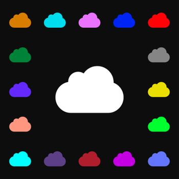 cloud icon sign. Lots of colorful symbols for your design.
