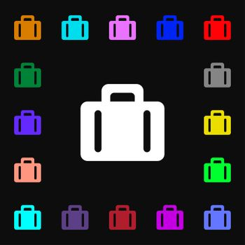 suitcase icon sign. Lots of colorful symbols for your design.
