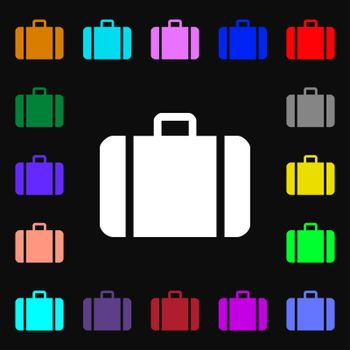 suitcase iconi sign. Lots of colorful symbols for your design.