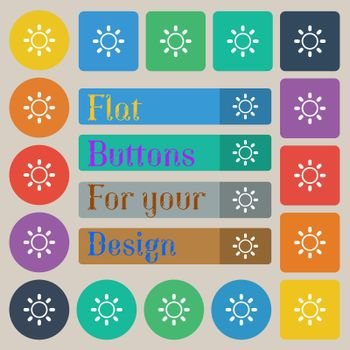 Brightness icon sign. Set of twenty colored flat, round, square and rectangular buttons.