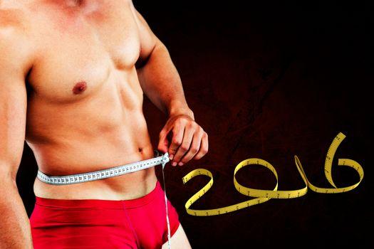 Composite image of bodybuilder