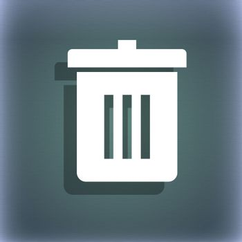 Recycle bin, Reuse or reduce icon symbol on the blue-green abstract background with shadow and space for your text.